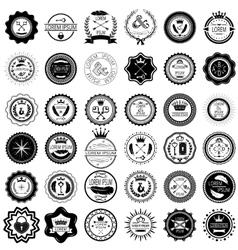 Set of 36 vintage round labels vector image
