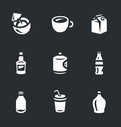 set of drinks icons vector image