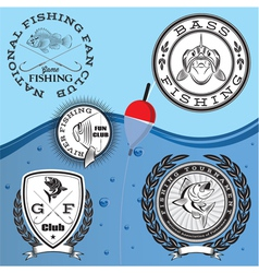 set of emblems on the topic fishing vector image