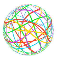 sphere with colored lines stripes around the orbit vector image vector image