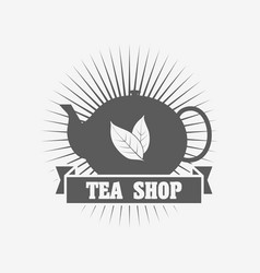 tea shop logo or badge deasign template with tea vector image vector image