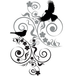 vignette with birds and flowers vector image vector image