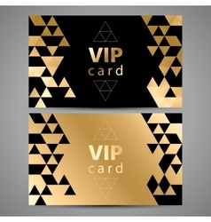 VIP cards Black and golden design Triangle vector image