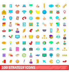 100 strategy icons set cartoon style vector