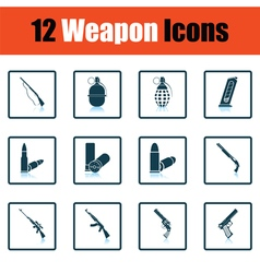 Set of twelve weapon icons vector