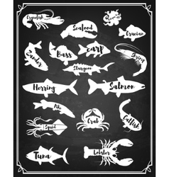 Set of fish and sea animals silhouette on grunge vector
