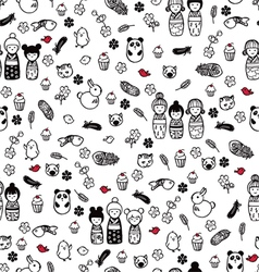 Seamless pattern with miniatures vector