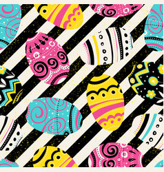 easter eggs vintage seamless pattern bright vector image