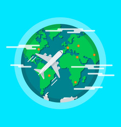 aircraft flying around the world vector image