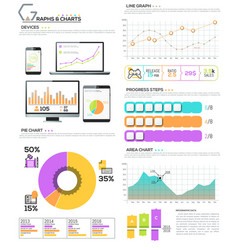 Big bundle of diagram chart graph and workflow vector