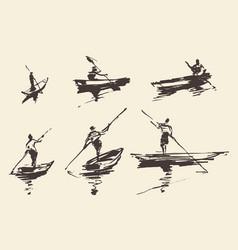 man boat hand drawn sketch vector image