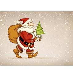 Santa claus walking with sack vector