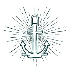 Vintage marine anchor isolated engrave vector