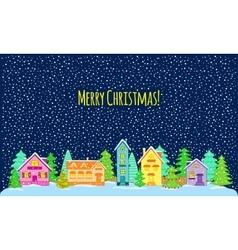 Winter night Merry Christmas vector image