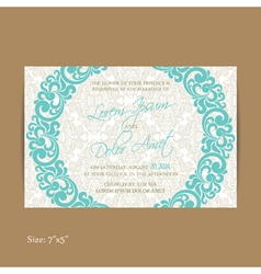 Wedding vintage invitation blue vector