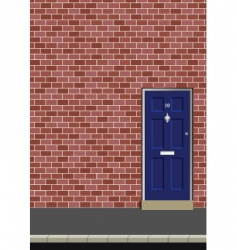 door in brick wall vector image