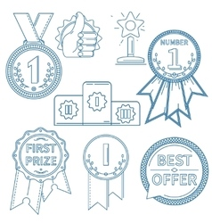 Lineart awards set vector