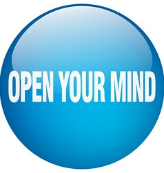 Open your mind blue round gel isolated push button vector