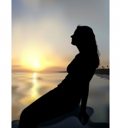 coast sunset and girl silhouette vector image