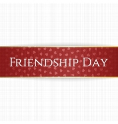 Friendship day realistic red bend label vector