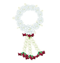 A fresh white colors of jasmine flowers garland vector