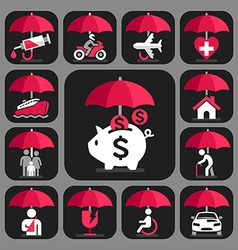 All Insurance and umbrella symbols vector image vector image