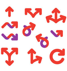 Arrows and signs movement direction icon set vector
