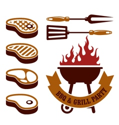 Barbecue party - steaks grill elements vector image