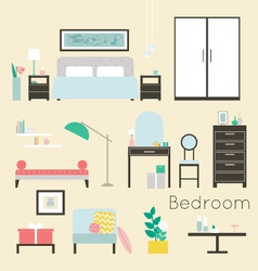 Bedroom furniture and accessories - modern bedroom vector