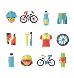 Bicycle sports icons set vector