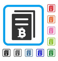 Bitcoin price copy framed icon vector