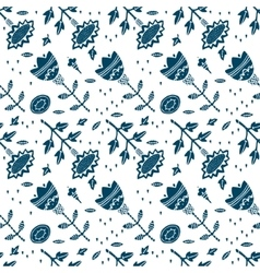 Blue floral seamless pattern vector image vector image