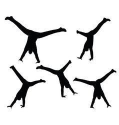 Boy silhouette in sitting cartwheel pose vector