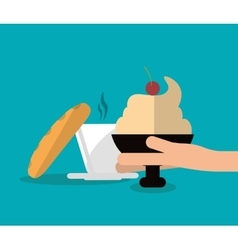 Bread mug and ice cream of fast food concept vector