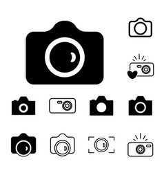 camera icons isolated or snapshot photography vector image vector image