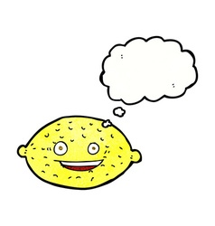 Cartoon lemon with thought bubble vector