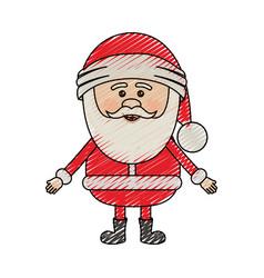 Color crayon stripe cartoon of santa claus waiting vector
