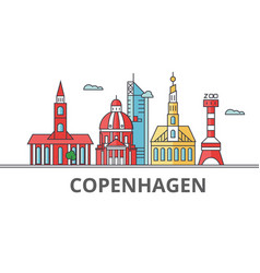 copenhagen city skyline buildings streets vector image vector image