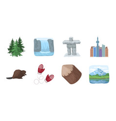 country canada icons in set collection for design vector image