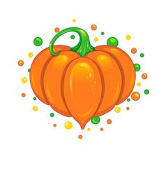 Cute pumpkin heart vector