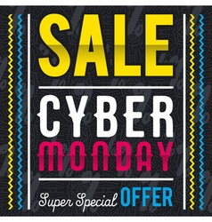 Cyber monday sale banner on black patterned backgr vector