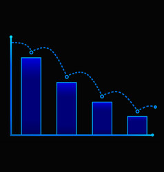 Decreasing bar graph with blue arrow isometric vector