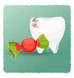 dental care tooth and candy on vector image vector image
