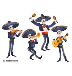 dia de muertos mariachi band musician skeletons vector image vector image