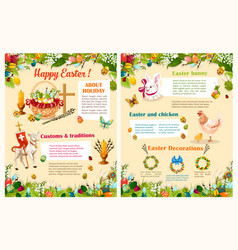 Easter spring holidays brochure template design vector