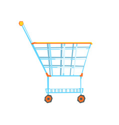 empty supermarket shopping cart with color wheels vector image