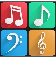 Flat icon set music for Web and Application vector image