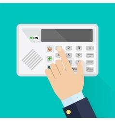Keypad of security system for entering inside vector