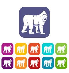 Mandrill monkey icons set flat vector
