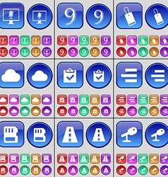Monitor nine tag cloud survey list sim card road vector